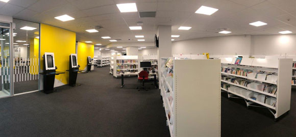 Panoramic view of the inside of Arapaki Manners Library branch