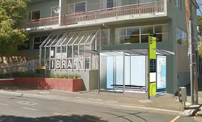 Brooklyn Library with proposed new bus shelter