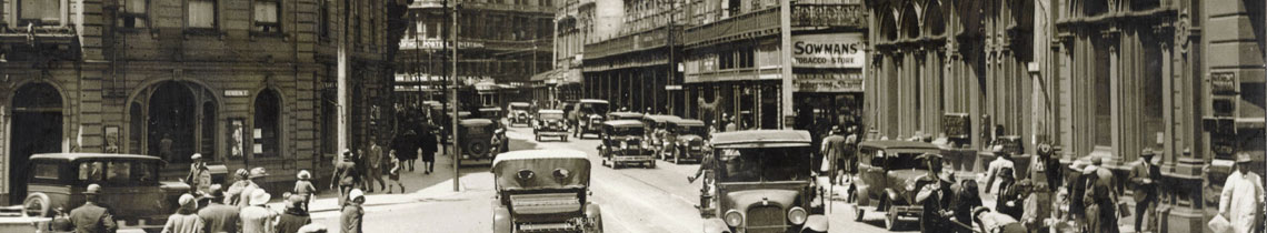 Looking south-east towards the end of Lambton Quay, c1925